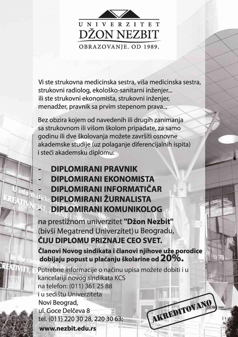 """Нови синдикат Клиничког центра Србије потписао је уговор о сарадњи са Универзитетом """"Џон Незбит"""""""