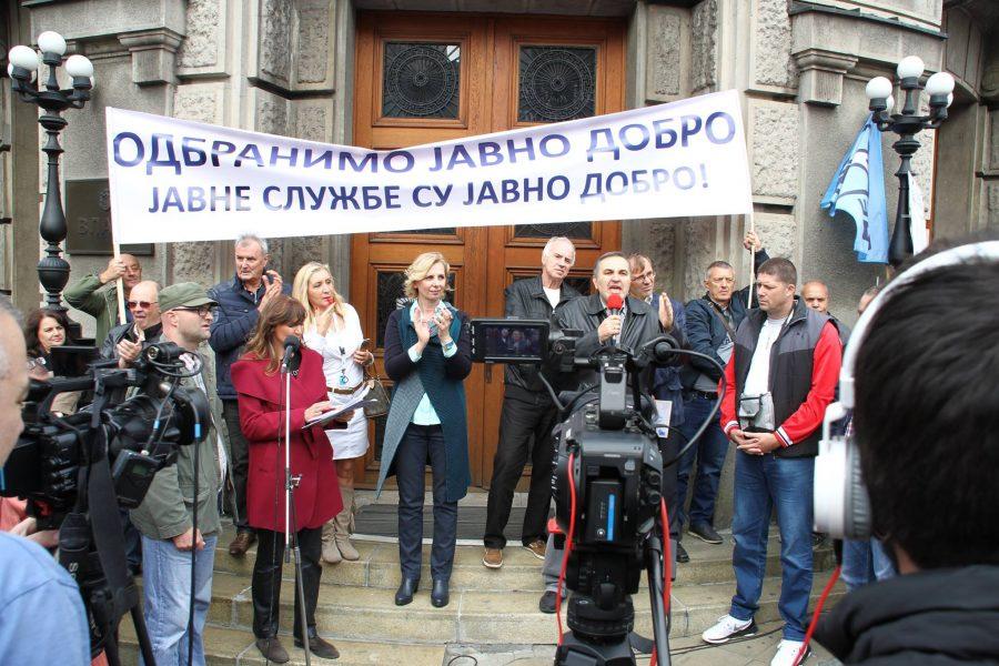 Govor predsednika Novog sindikata zdravstva Srbije na protestu sindikata javnih službi 28.09.2017.